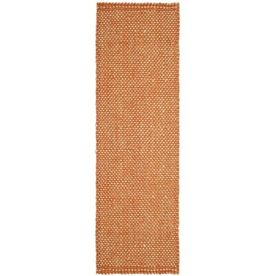 Stantonsburg Hand-Woven Rust/Natural Area Rug Rug Size: Runner 23 x 8