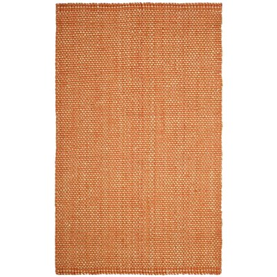 Carthage Hand-Woven Rust/Natural Area Rug Rug Size: 5 x 8