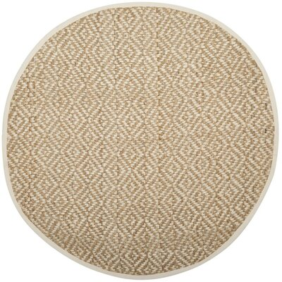 Miliou Hand-Woven Ivory/Natural Area Rug Rug Size: Round 6