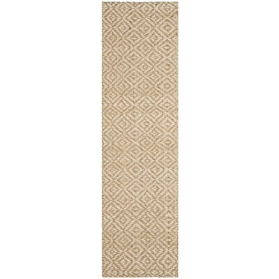 Miliou Hand-Woven Ivory/Natural Area Rug Rug Size: Runner 23 x 8