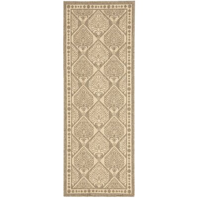 Inverness Highlands Coffee/Sand Checked Outdoor Rug Rug Size: Runner 24 x 67