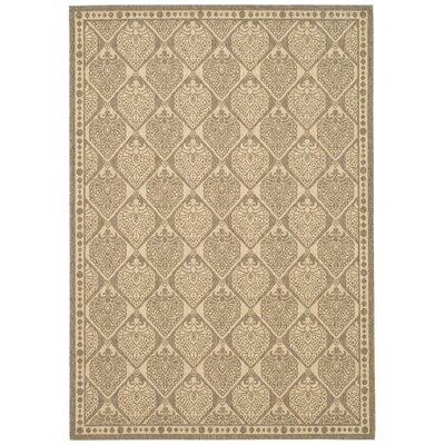 Romola Coffee/Sand Checked Outdoor Rug Rug Size: 53 x 77