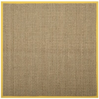 Elba Natural/Gold Area Rug Rug Size: Square 6