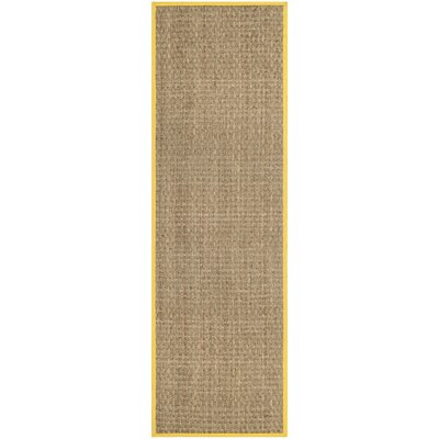 Elba Natural/Gold Area Rug Rug Size: Runner 26 x 8