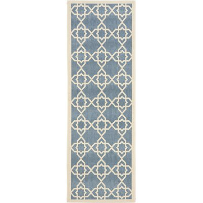 Inverness Highlands Blue/Beige Indoor/Outdoor Rug Rug Size: Runner 24 x 911