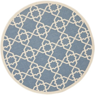 Ceri Blue/Beige Indoor/Outdoor Rug Rug Size: Round 53