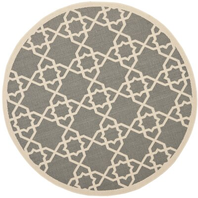 Ceri Grey/Beige Indoor/Outdoor Area Rug Rug Size: Round 53