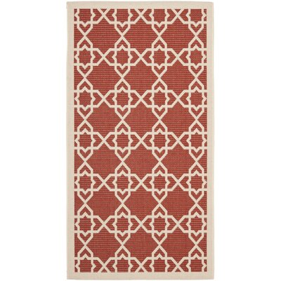 Ceri Machine Woven Red/Beige Indoor/Outdoor Rug Rug Size: Rectangle 2 x 37