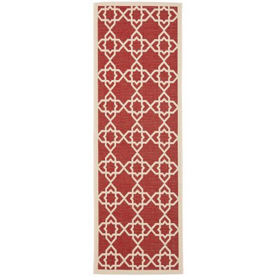 Ceri Machine Woven Red/Beige Indoor/Outdoor Rug Rug Size: Runner 24 x 67