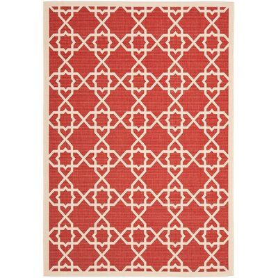 Romola Machine Woven Red/Beige Indoor/Outdoor Rug Rug Size: 53 x 77