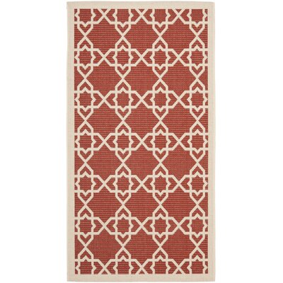 Ceri Machine Woven Red/Beige Indoor/Outdoor Rug Rug Size: Rectangle 4 x 57