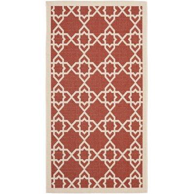 Ceri Machine Woven Red/Beige Indoor/Outdoor Rug Rug Size: Rectangle 4 x 57