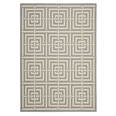 Romola Grey/Cream Indoor/Outdoor Rug Rug Size: 53 x 77