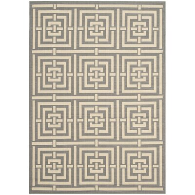 Romola Grey/Cream Indoor/Outdoor Rug Rug Size: Round 53