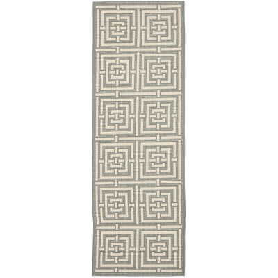Inverness Highlands Grey/Cream Indoor/Outdoor Rug Rug Size: Runner 24 x 67