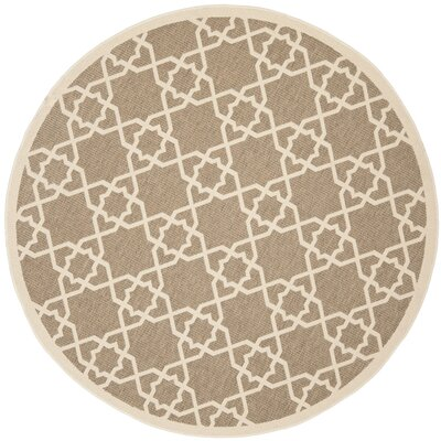 Jefferson Place Brown/Tan ndoor/Outdoor Area Rug Rug Size: Round 53