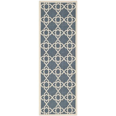 Inverness Highlands Navy/Beige Outdoor Area Rug Rug Size: Runner 23 x 12