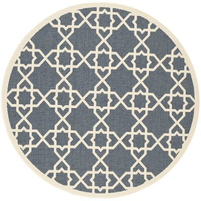 Inverness Highlands Navy/Beige Outdoor Area Rug Rug Size: Round 67