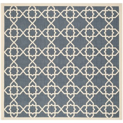 Romola Navy/Beige Outdoor Area Rug Rug Size: Square 4