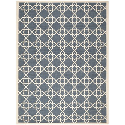 Inverness Highlands Navy/Beige Outdoor Area Rug Rug Size: 2 x 37
