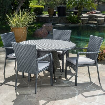 Brandon  5 Piece Dining Set with Cushion Finish: Gray