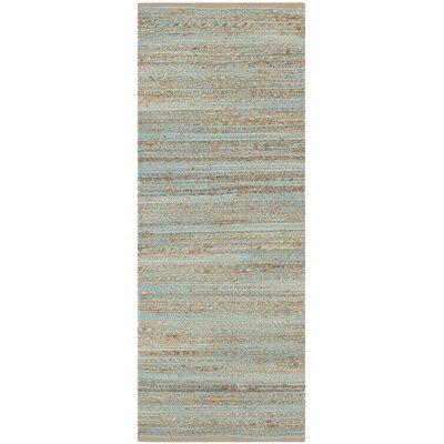 Marshville Hand-Woven Aqua/Beige Area Rug Rug Size: Runner 23 x 6