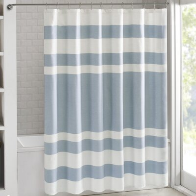 Janiyah Waffle Shower Curtain Color: Light Blue