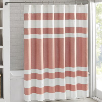 Janiyah Waffle Shower Curtain Color: Coral