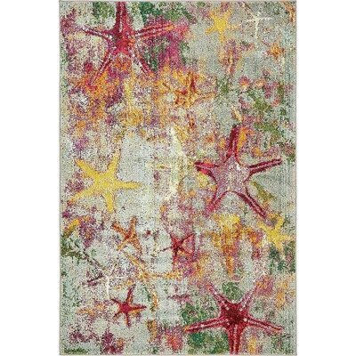 Ethel� Beige/Pink Area Rug Rug Size: 4 x 6