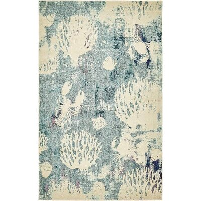Ethel�Light Blue Area Rug Rug Size: 5 x 8