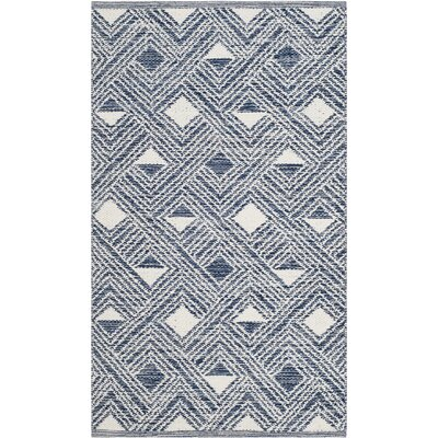 Dominica Hand-Woven Navy/Ivory Area Rug Rug Size: Rectangle 3 x 5