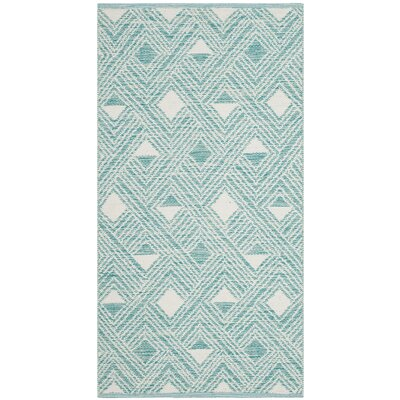 Dominica Hand-Woven Aqua/Ivory Area Rug Rug Size: 8 x 10