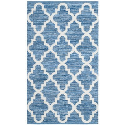 Eliana�Hand-Woven Blue/Ivory Area Rug Rug Size: Rectangle 5 x 8