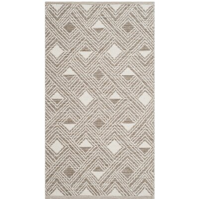 Dominica Hand-Woven Gray/Ivory Area Rug Rug Size: 3 x 5