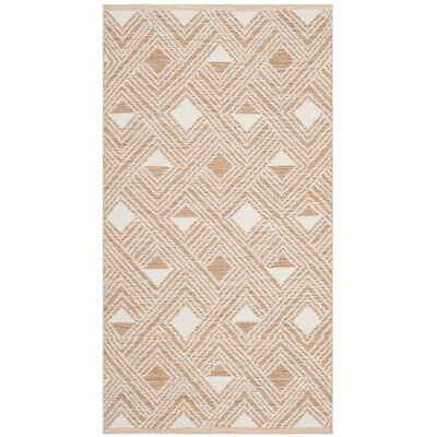 Dominica Hand-Woven Peach/Ivory Area Rug Rug Size: Rectangle 5' x 8'