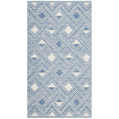 Dominica Hand-Woven Blue/Ivory Area Rug Rug Size: Rectangle 8 x 10