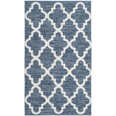 Eliana� Hand-Woven Navy/Ivory Area Rug Rug Size: Rectangle 3 x 5