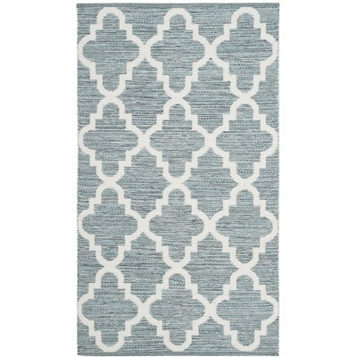 Eliana Hand-Woven Rectangle Mint/Ivory Area Rug Rug Size: 8 x 10