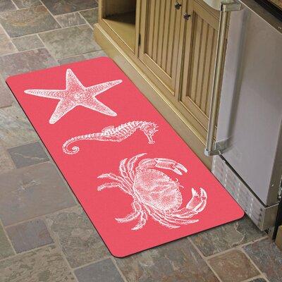 Annalise Coral Nautical Kitchen Mat