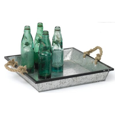 Square Silver Tin Tray with Rope Handle