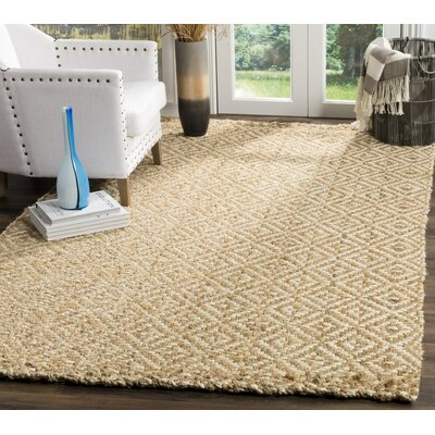 Miliou Hand-Woven Ivory/Natural Area Rug Rug Size: Rectangle 4 x 6