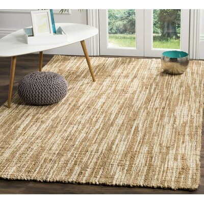 Omorfo Hand-Woven Natural/Cream Area Rug Rug Size: Rectangle 6 x 9