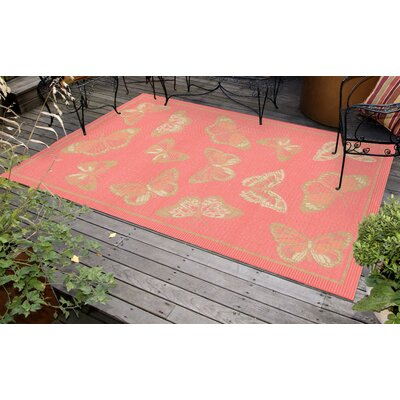 Kona Butterfly Pink Indoor/Outdoor Area Rug Rug Size: 33 x 411