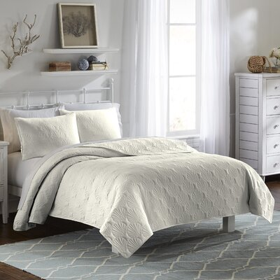 Jessa 3 Piece Quilt Set Color: Ivory, Size: Queen