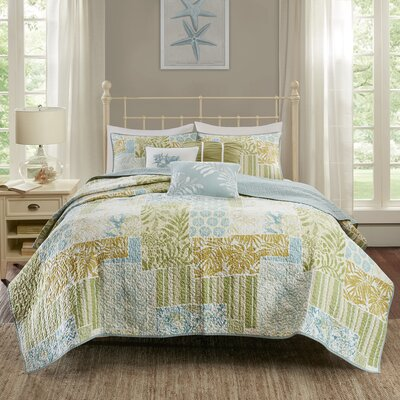 Andrews 6 Piece Coverlet Set Size: King/California King, Color: Blue/Green