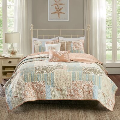 Andrews 6 Piece Coverlet Set Size: King/California King, Color: Coral
