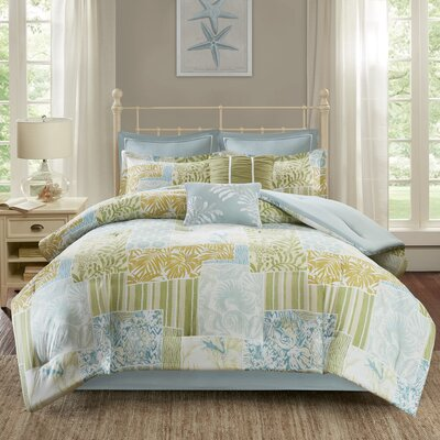 Andrews Comforter Set Size: California King, Color: Blue/Green