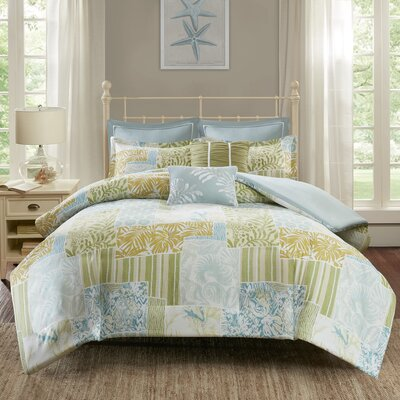 Andrews 7 Piece Duvet Cover Set Size: King/California King, Color: Blue/Green