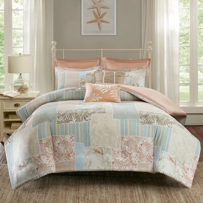 Andrews 7 Piece Duvet Cover Set Size: King/California King, Color: Coral