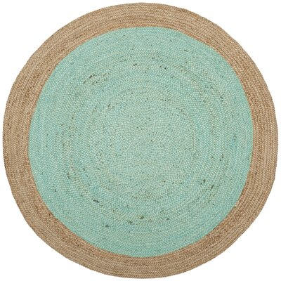 Greenwich Fiber Hand-Woven Aqua/Natural Area Rug Rug Size: Round 5